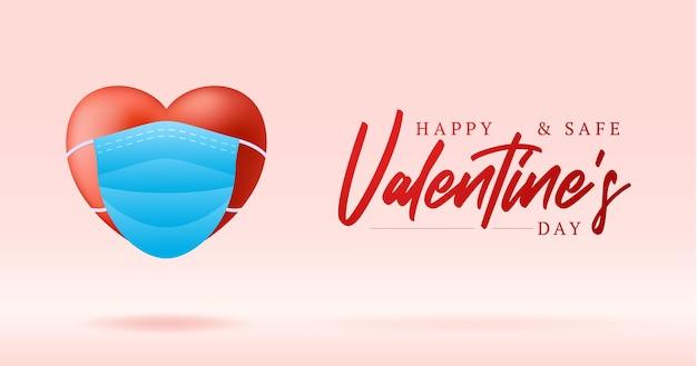 Lindo coração vermelho realista na máscara médica azul. proteção para um feliz e seguro dia dos namorados.