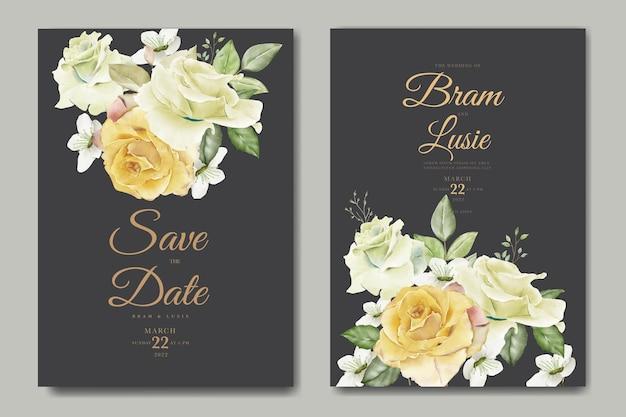 Lindo desenho a mão desenho de folhas florais de convite de casamento