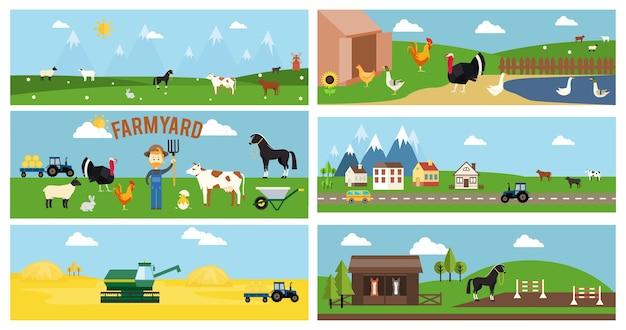 Lindo desenho animado em vetor farmyard