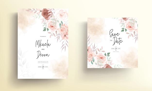 Lindo desenho de cartão de convite de casamento floral marrom desenhado à mão