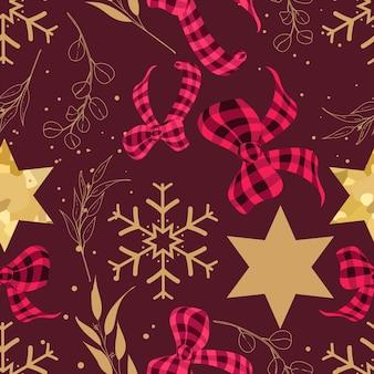 Lindo desenho de padrão de natal desenhado à mão