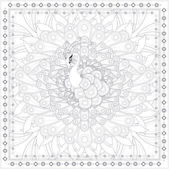 Lindo desenho de página para colorir de pavão em estilo étnico