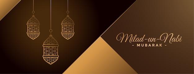 Lindo design de banner com lâmpadas douradas milad un nabi