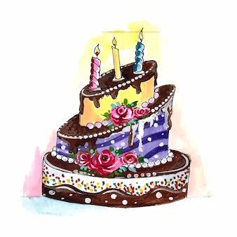Lindo design de bolo de aniversário comemorativo