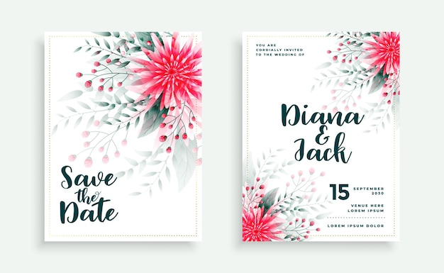Lindo design de cartão de casamento com decoração de flores