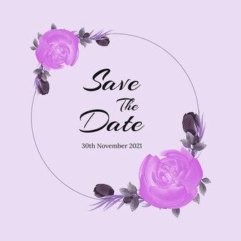 Lindo design de cartão de convite com decoração floral em aquarela