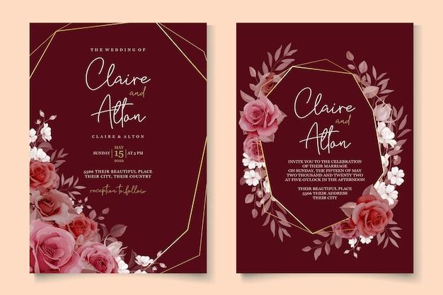 Lindo design de convite de casamento com guirlanda floral