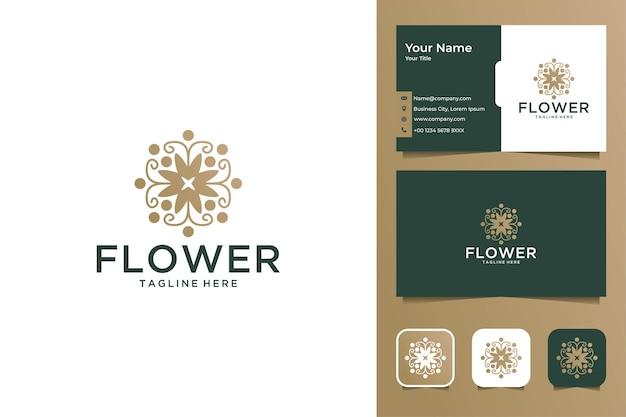 Lindo design de logotipo de flor e cartão de visita