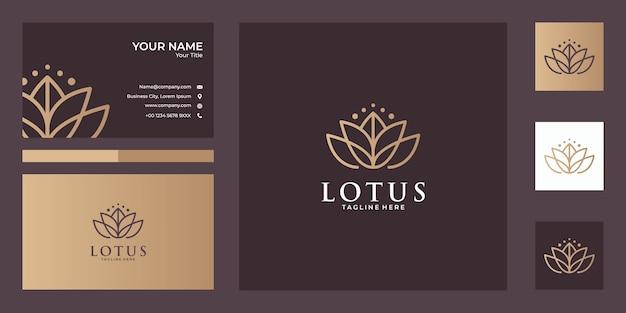 Lindo design de logotipo e cartão de visita de arte de linha de lótus, bom uso para spa, ioga, moda, logotipo de salão de beleza