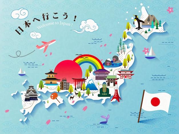 Lindo design de mapa de viagem para o japão