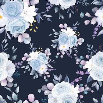 Lindo design de padrão floral branco sem costura