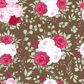 Lindo design de padrão sem emenda de quadro floral rosa e vermelho