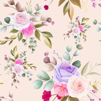 Lindo design floral desenhado à mão sem costura padrão