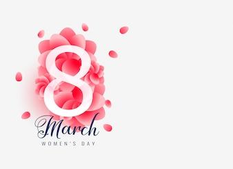 Lindo dia 8 de design de cartão de dia feliz feminino