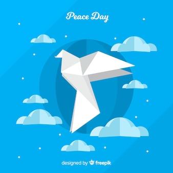 Lindo dia de fundo de paz com pombo de papel