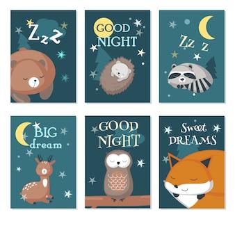 Lindo dormindo animais silvestres vector conjunto de cartão