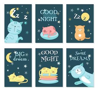 Lindo dormindo gatos de estimação vector conjunto de cartão