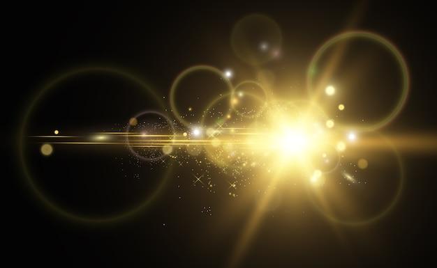 Lindo dourado uma estrela em um fundo translúcido com pó de ouro e brilhos. uma magnífica base de luz para o seu design.