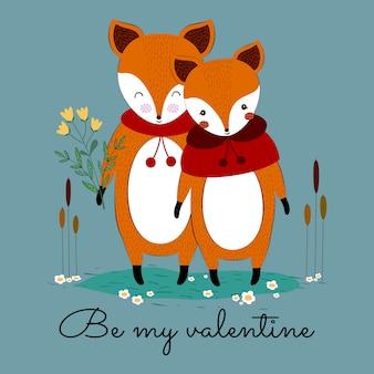 Lindo e adorável casal de raposa dos namorados com bela flor