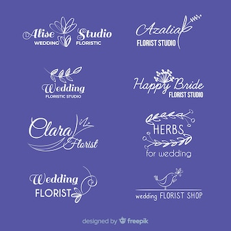 Lindo e elegante logotipo ou logotipo definido para casamento ou florista