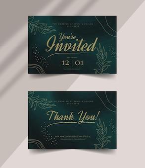 Lindo e elegante modelo de cartão de agradecimento editável para casamento com pinceladas abstratas