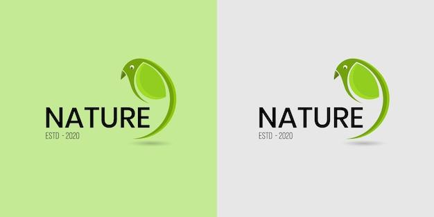Lindo e simples logotipo de folha de pássaro verde para empresas de alimentos e bebidas orgânicos