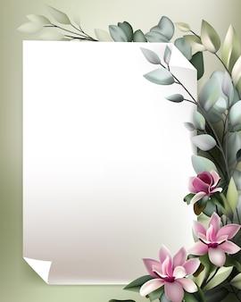 Lindo enquadramento floral com modelo de papel branco