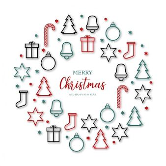Lindo feliz natal banner com ícones