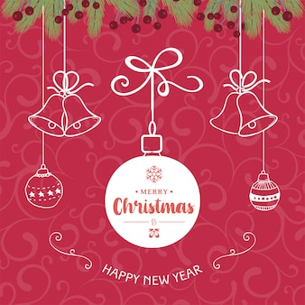 Lindo feliz natal e feliz ano novo em fundo vermelho.