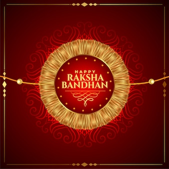 Lindo feliz raksha bandhan fundo dourado rakhi