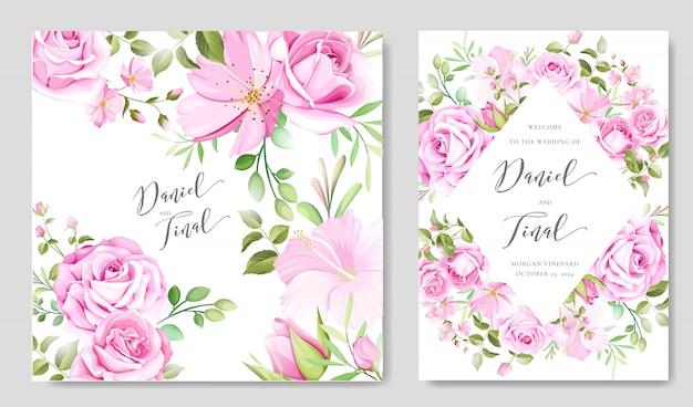 Lindo floral e folhas frame e modelo de plano de fundo do casamento