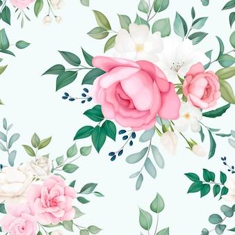Lindo floral e folhas padrão sem emenda