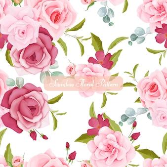 Lindo floral e folhas sem costura