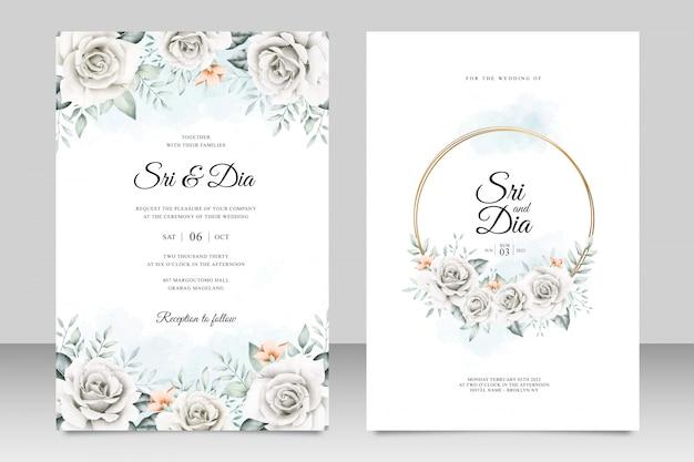 Lindo floral no modelo de cartão de casamento