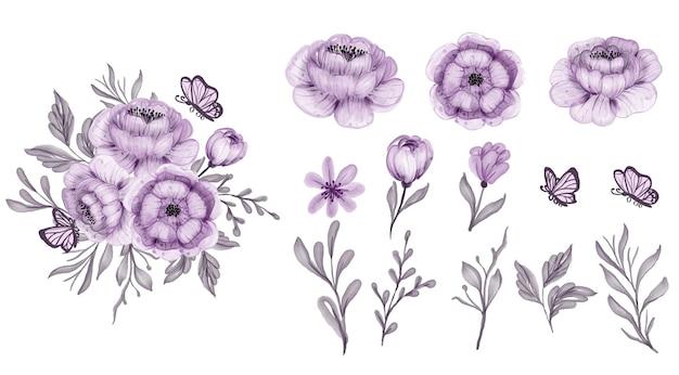 Lindo floral roxo isolado de folhas e flores em aquarela clip-art