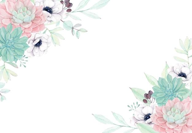 Lindo floral suculento com flor de anêmona