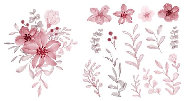 Lindo floral vermelho isolado de folhas e flores em aquarela clip-art