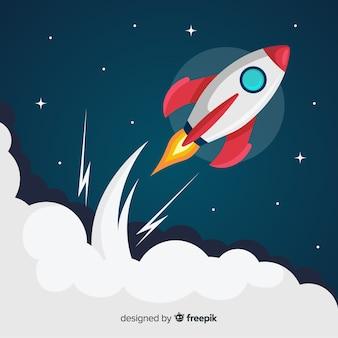 Lindo foguete espacial com design plano