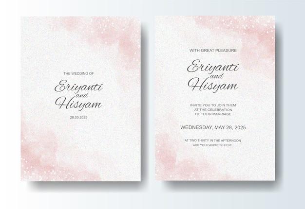 Lindo fundo aquarela de cartão de casamento com respingo