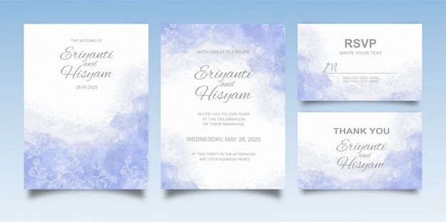Lindo fundo aquarela de cartão de casamento com respingos e linhas florais