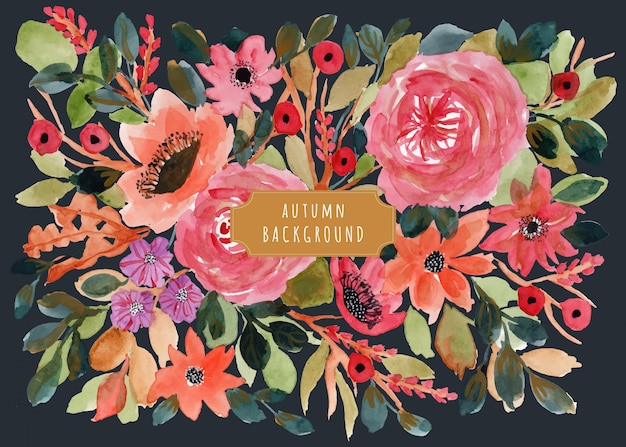 Lindo fundo aquarela floral outono