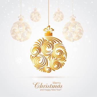 Lindo fundo artístico de bola dourada de natal