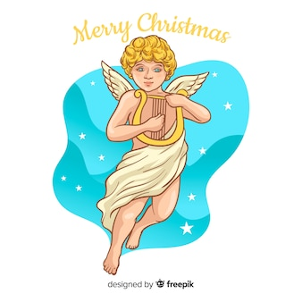 Lindo fundo de anjo de natal em design plano