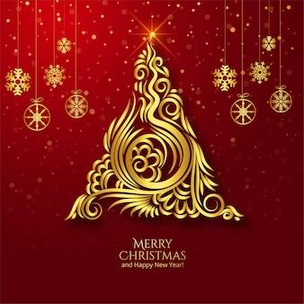 Lindo fundo de cartão com árvore dourada de feliz natal