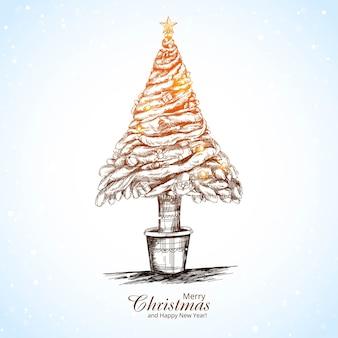 Lindo fundo de cartão de desenho de árvore brilhante de natal