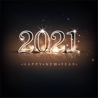 Lindo fundo de celebração de texto brilhante de 2021