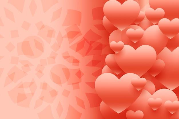 Lindo fundo de corações 3d