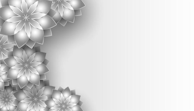 Lindo fundo de flores em tons de cinza com espaço de texto