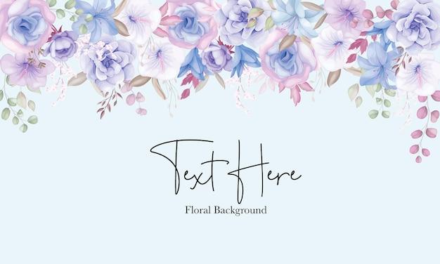 Lindo fundo de flores rosa e azul suave