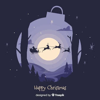 Lindo fundo de Natal com design plano